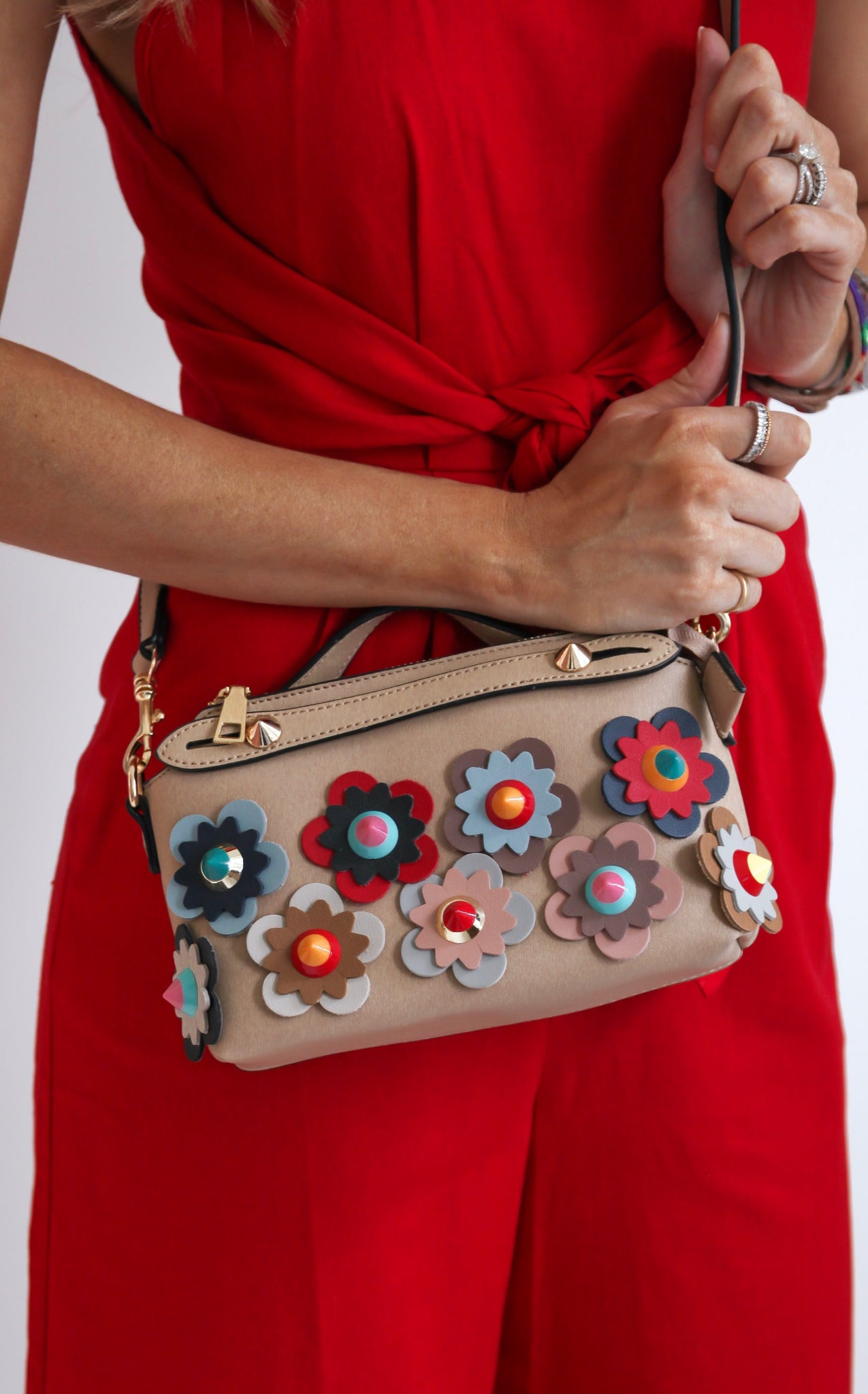 WHIMSY FLORAL PURSE - NUDE