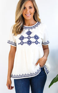 ROCHA EMBROIDERED TOP