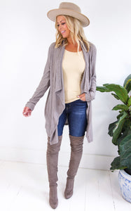 LOOSE LAYERS CARDIGAN - TAUPE
