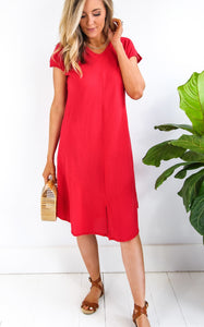 KALEY DRESS - CRIMSON