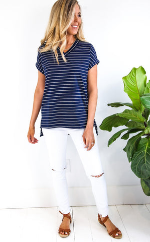 NEW DAY STRIPE SHIRT - NAVY