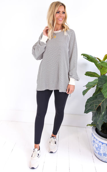 PIN STRIPED TERRY KNIT - IVORY