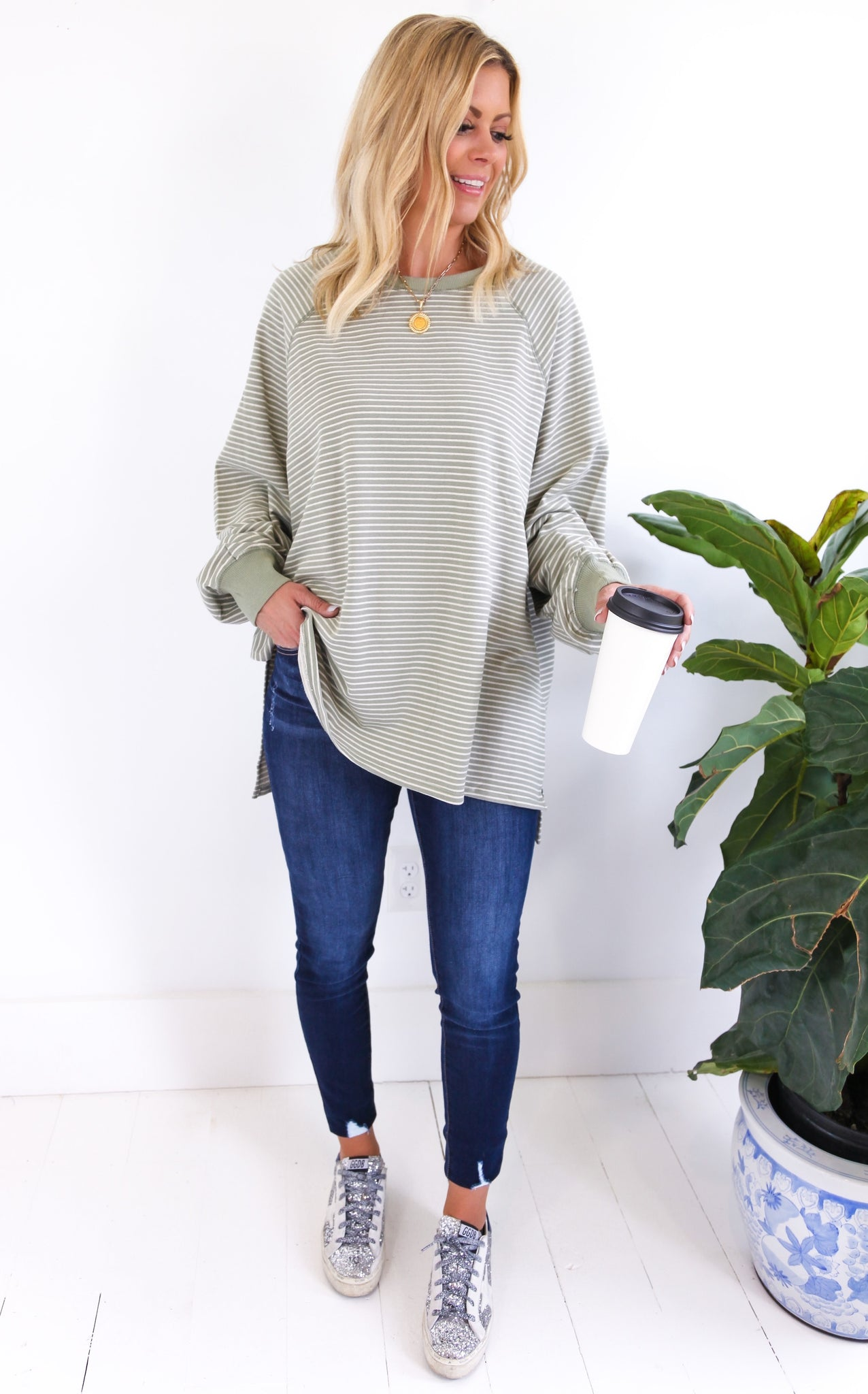 PIN STRIPED TERRY KNIT - SAGE
