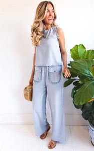 ELLE LAIN - BEACH SIDE LINEN SET - CHAMBRAY