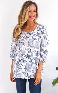 FLORAL TUNIC - BLUE