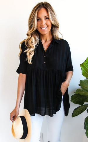 ELLE LAIN - COSTA BUTTON DOWN - BLACK
