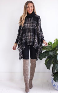 CHANEL PLAID PONCHO - BLACK