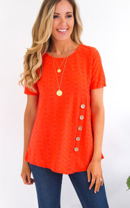 BENNI BUTTON TOP - TANGERINE