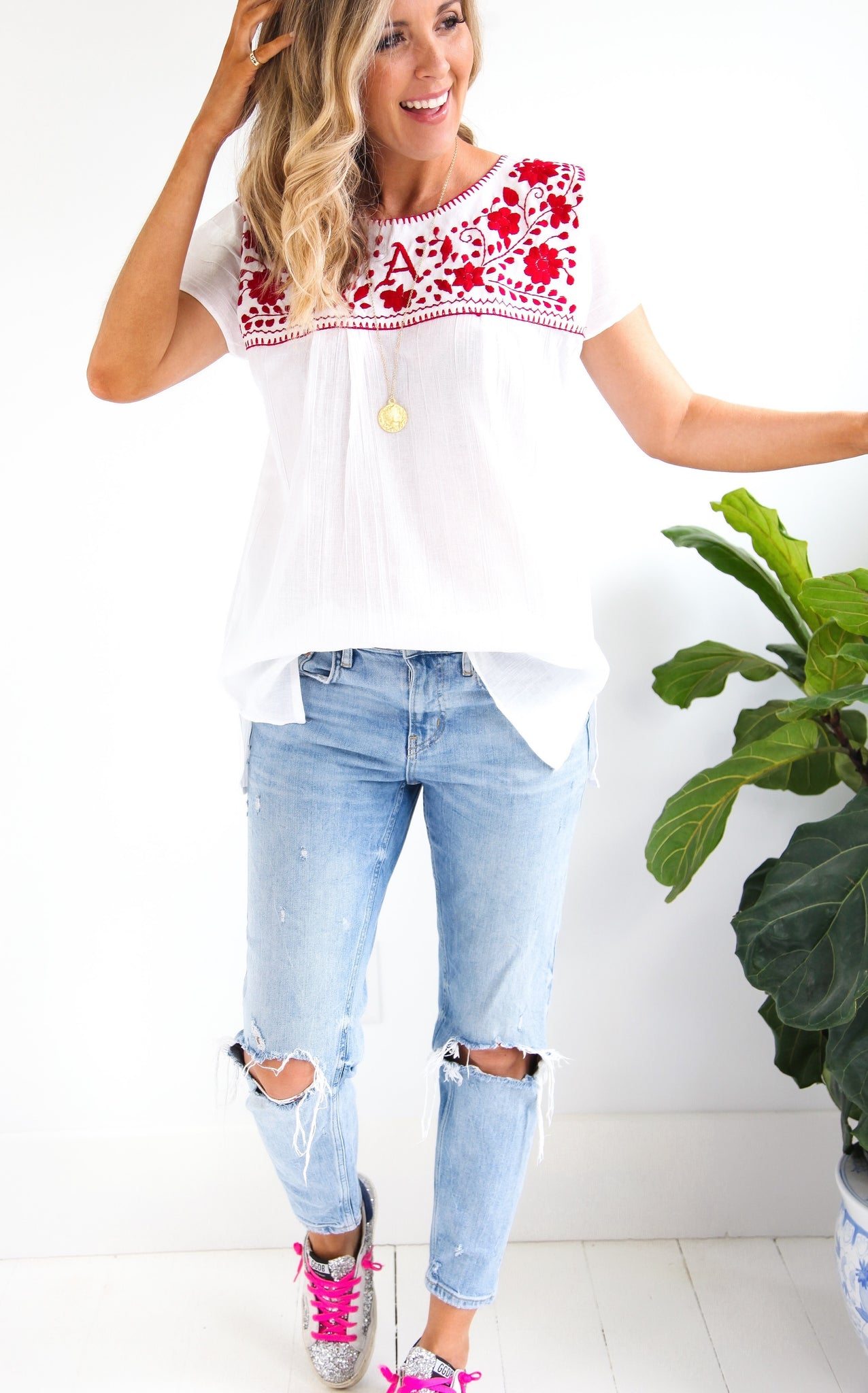 EMBROIDERED BOHO TOP - ARKANSAS