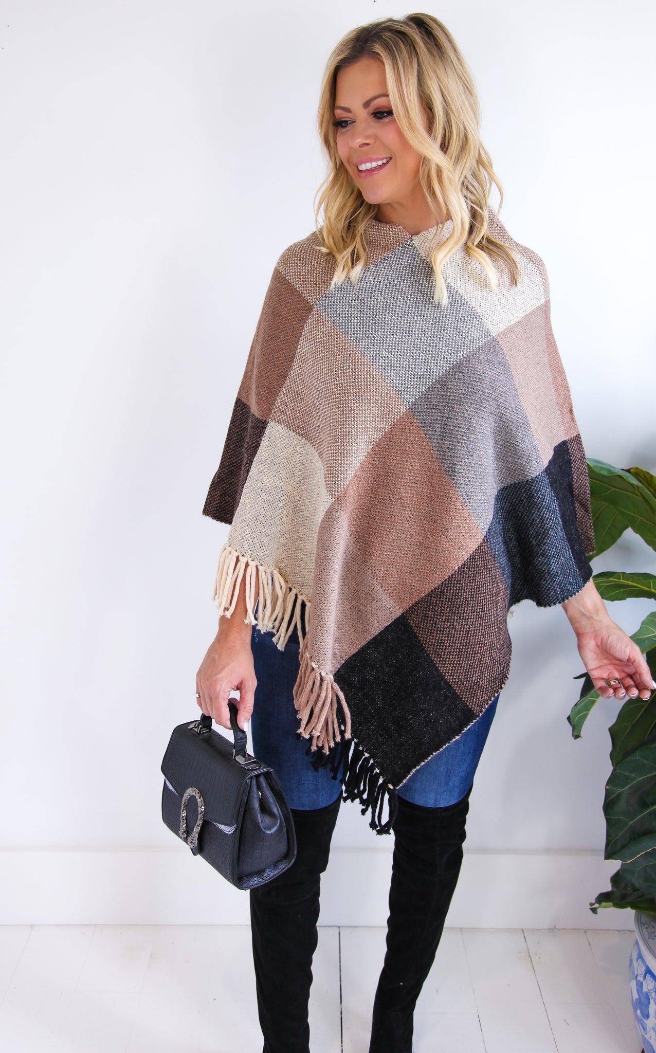 MOHAIR GINGHAM PONCHO