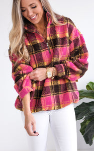 CHECK IT PULLOVER - PINK/BROWN