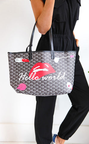 PRINTED INSPIRED TOTE - BLACK