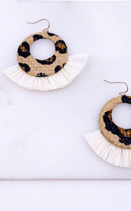 LEOPARD RAFFIA EARRINGS
