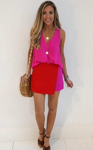 ELLE LAIN - ENVELOPE SKORT - PINK/RED