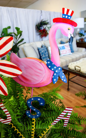 PATRIOTIC FLAMINGO STAKE - INCLUDES ADDITIONAL SHIPPING