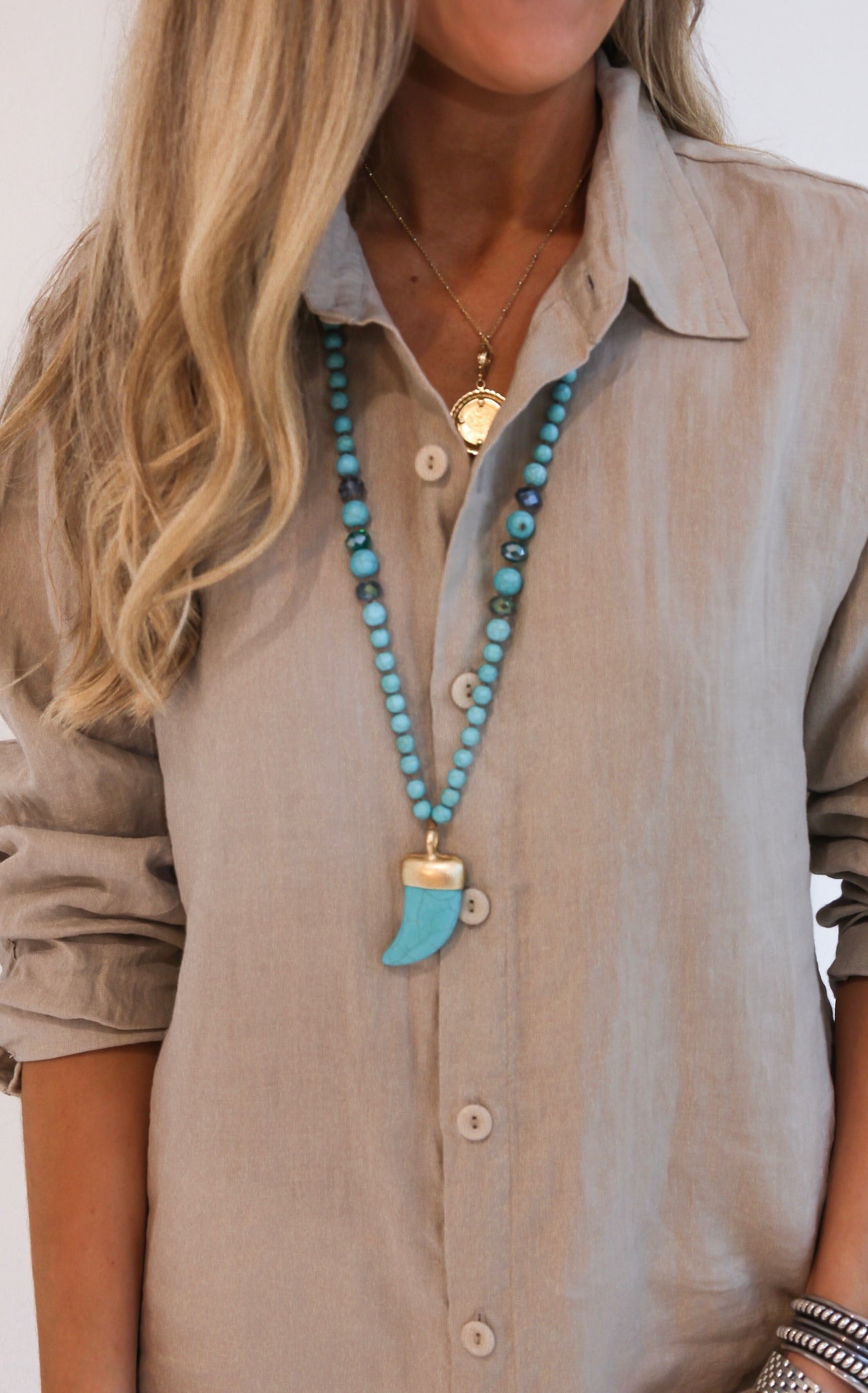 TURQUOISE TOOTH NECKLACE