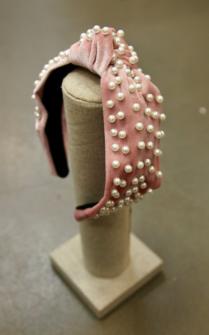 KNOT PEARL HEADBAND - BLUSH