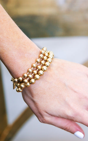 CANNA THREE STRAND BALL BRACELET - GOLD