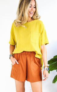 CHRISTA GAUZE TOP - MARIGOLD