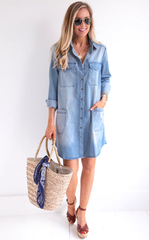 DISTRESSED DENIM DRESS