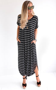 STRIPED MAXI - BLACK