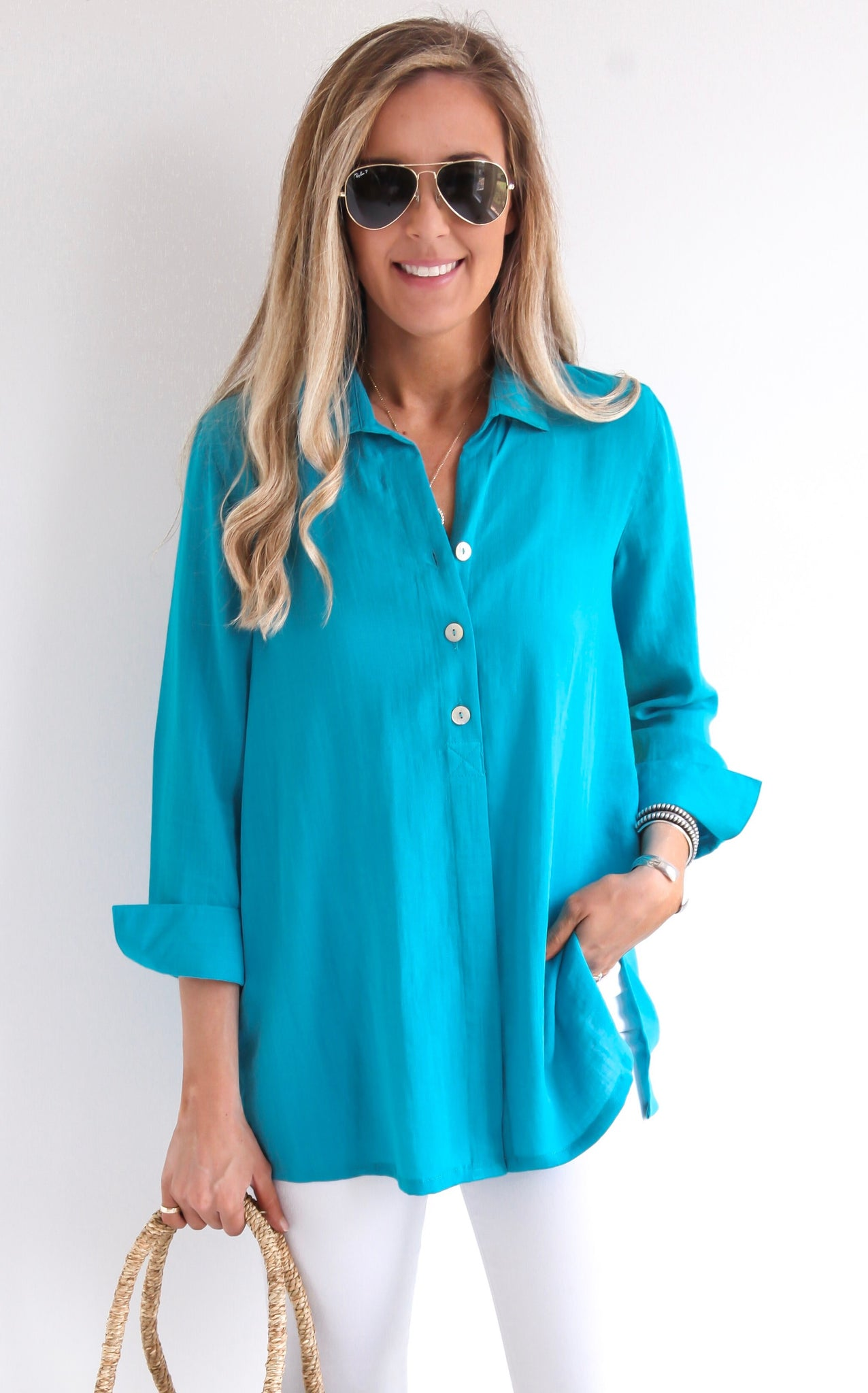 BUTTON BACK TOP - TEAL