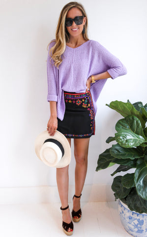 ELLA KNIT V-NECK - LAVENDER