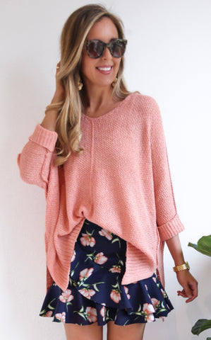 ELLA KNIT V-NECK - PEACH