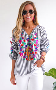 STRIPED MARY EMBROIDERED TOP