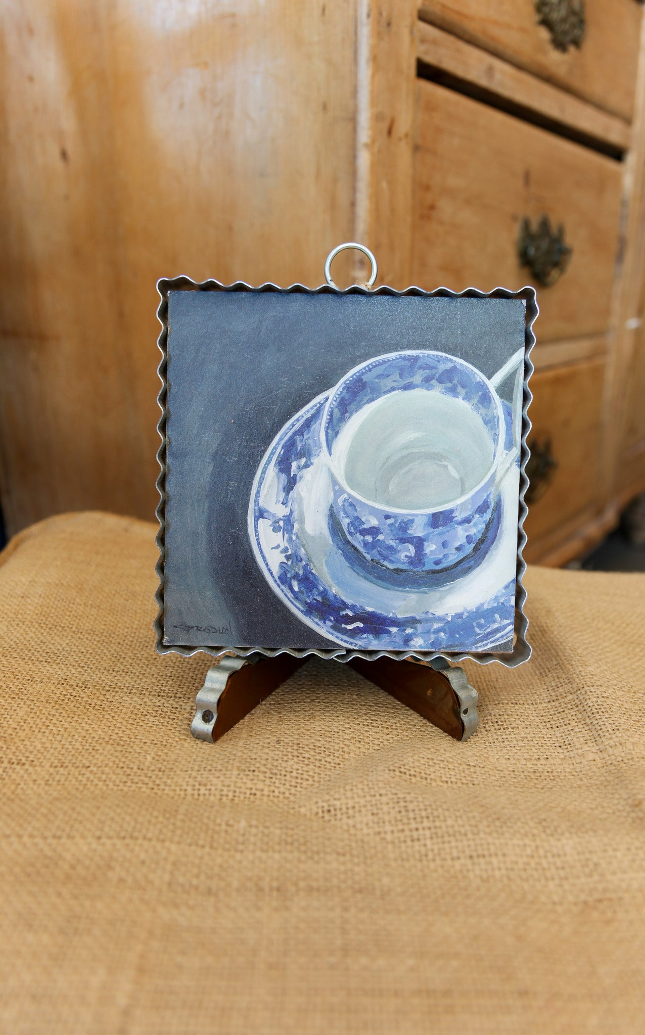 MINI PIE CRUST ART - BLUE & WHITE TEA CUP