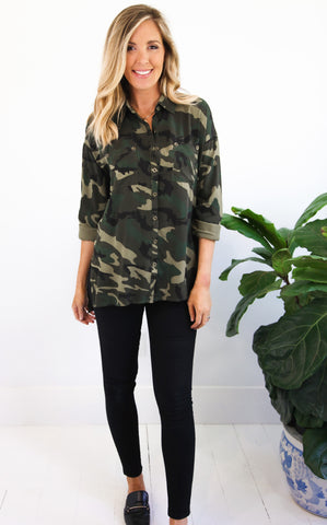 ELLE LAIN - SURPLUS BUTTON DOWN - CAMO