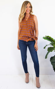 ELLE LAIN - PLAID WRAP TOP - RUST