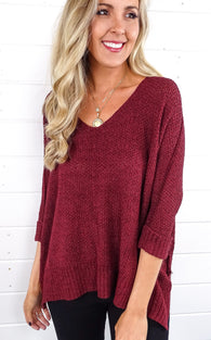 ELLA KNIT V-NECK - BURGUNDY