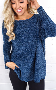 CHERI CHENILLE SWEATER - TEAL