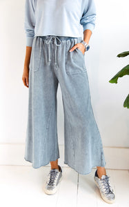 WASHED TERRY WIDE LEG - FADED TEAL