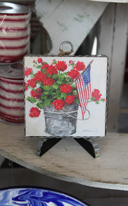 MINI PIE CRUST ART - FLOWER BUCKET WITH FLAG