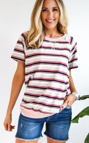 SUNSHINE STRIPE TEE - TAN