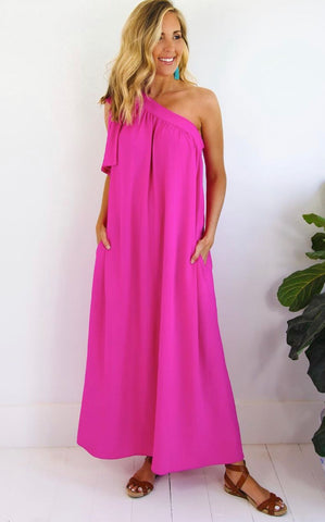 ELLE LAIN - STATEMENT DRESS - Fuchsia