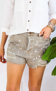 SPLATTER DISTRESSED SHORTS - SAGE