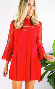 ELLE LAIN - LACE SUNMORE DRESS - RED