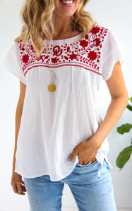 EMBROIDERED BOHO TOP - OU