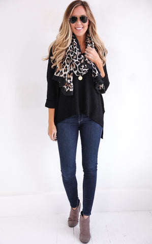 ELLA KNIT V-NECK - BLACK