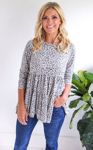 ELLE LAIN - LOSE IT LEOPARD TOP - GREY