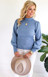 ELLE LAIN - POWER TURTLENECK - BLUE STONE