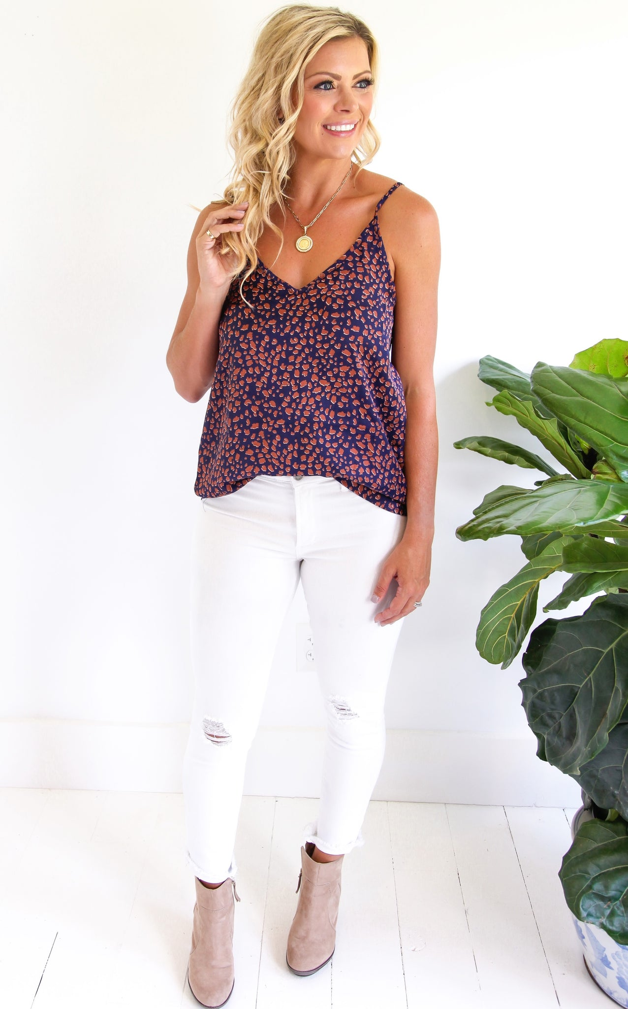ELLE LAIN - OUT LATE LEOPARD CAMI - NAVY