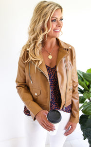 ELLE LAIN - PACIFICA FAUX LEATHER JACKET - CAMEL