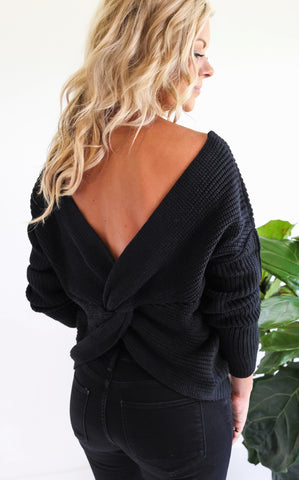 ELLE LAIN - ROMONA DIP BACK KNIT - BLACK