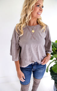 VITTA CROSS STITCH TOP - TAUPE