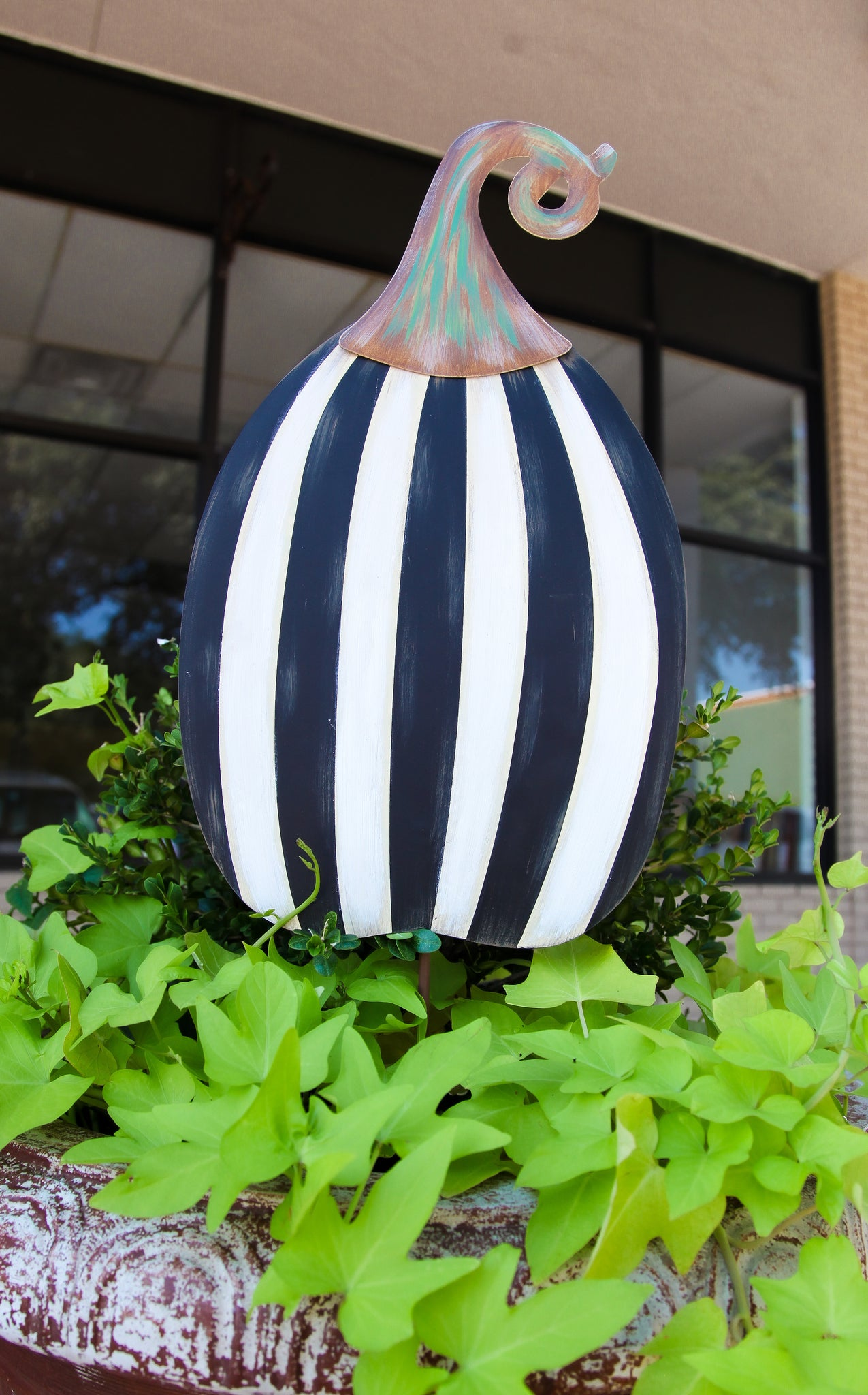 STRIPED PUMPKIN STAKE TALL + INCLUDES SHIPPING