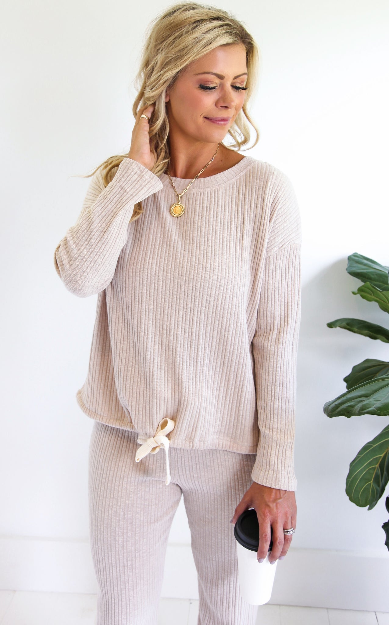 COZY RIBBED TOP - OATMEAL